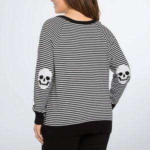 Torrid B&W Striped Skull Elbow Patch Sweater